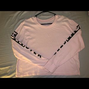 M-size Light Pink Long sleeved Hollister Crop Top